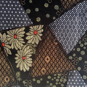 floral dobby weave fabric black