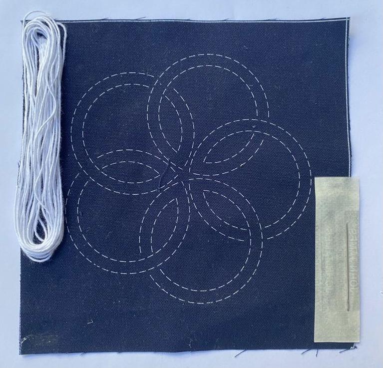 mini sashiko kit with white thread