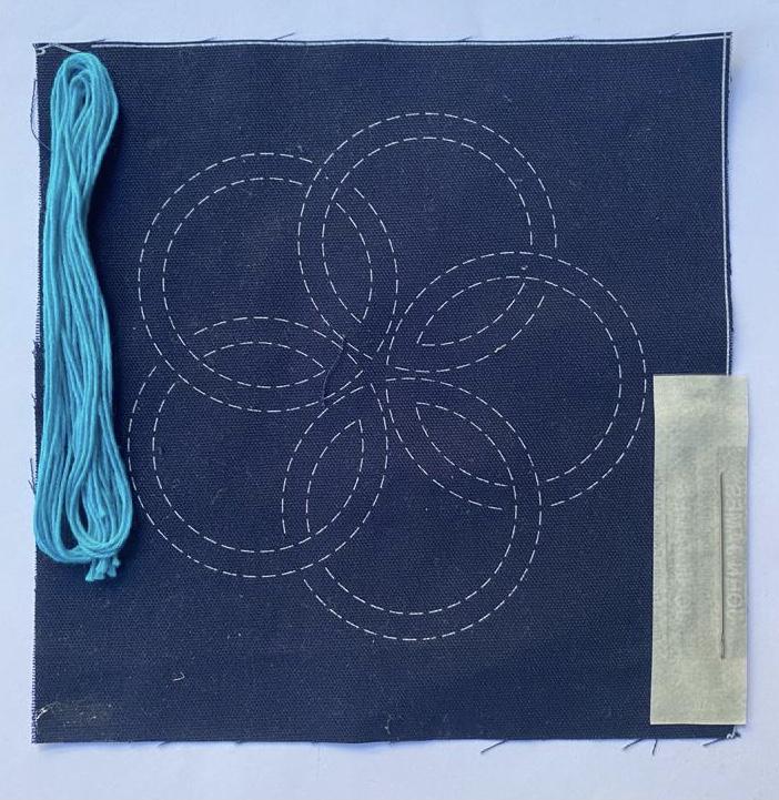 mini sashiko kit with aqua variegated thread