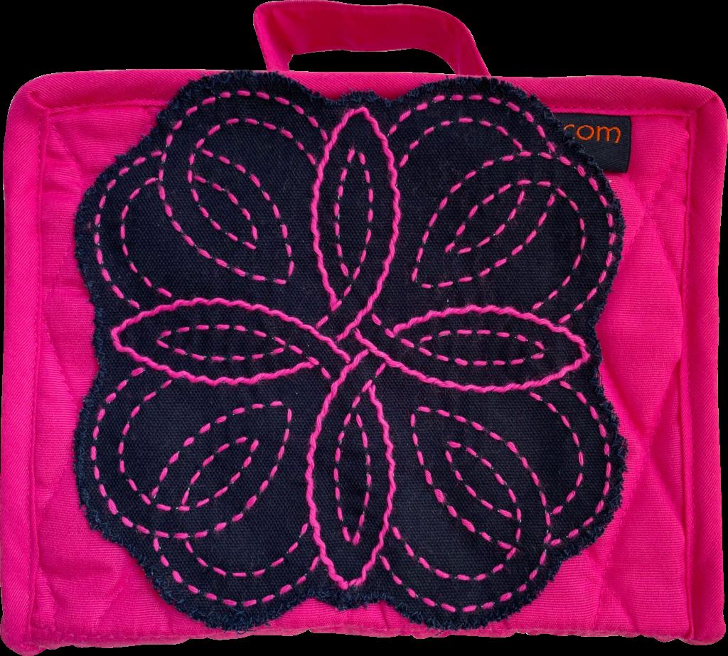 fuchsia petite craft organiser with sashiko stitching
