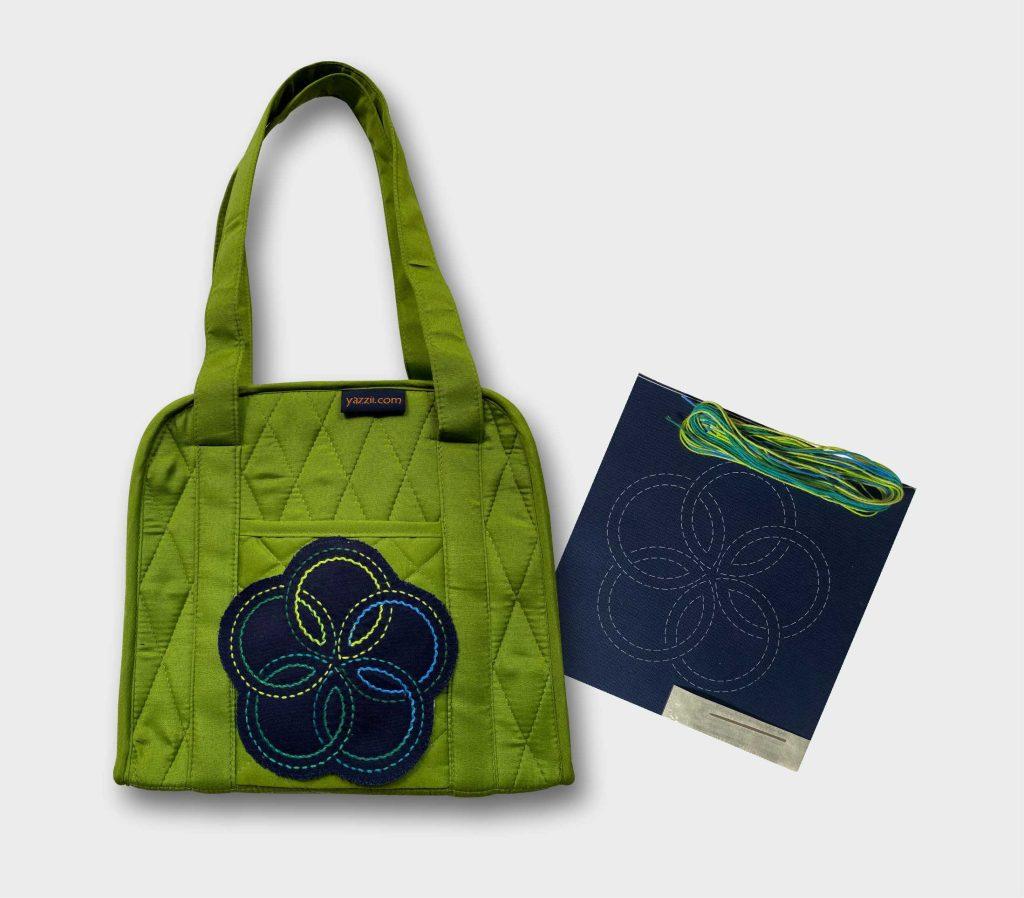 green oval craft organiser with sashiko kit