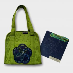 green oval craft organiser with sashiko kit