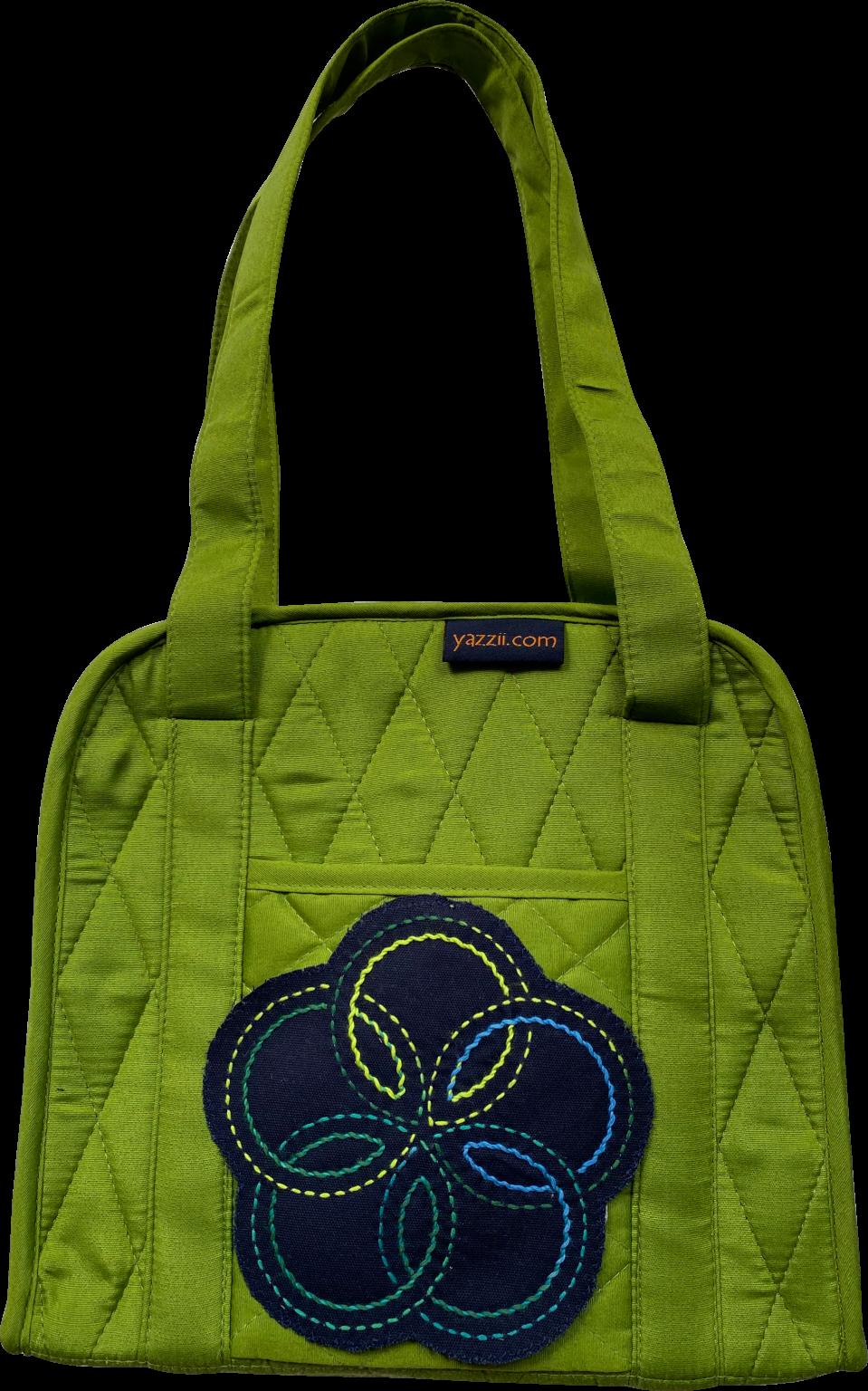 green oval craft organiser bag with sashiko