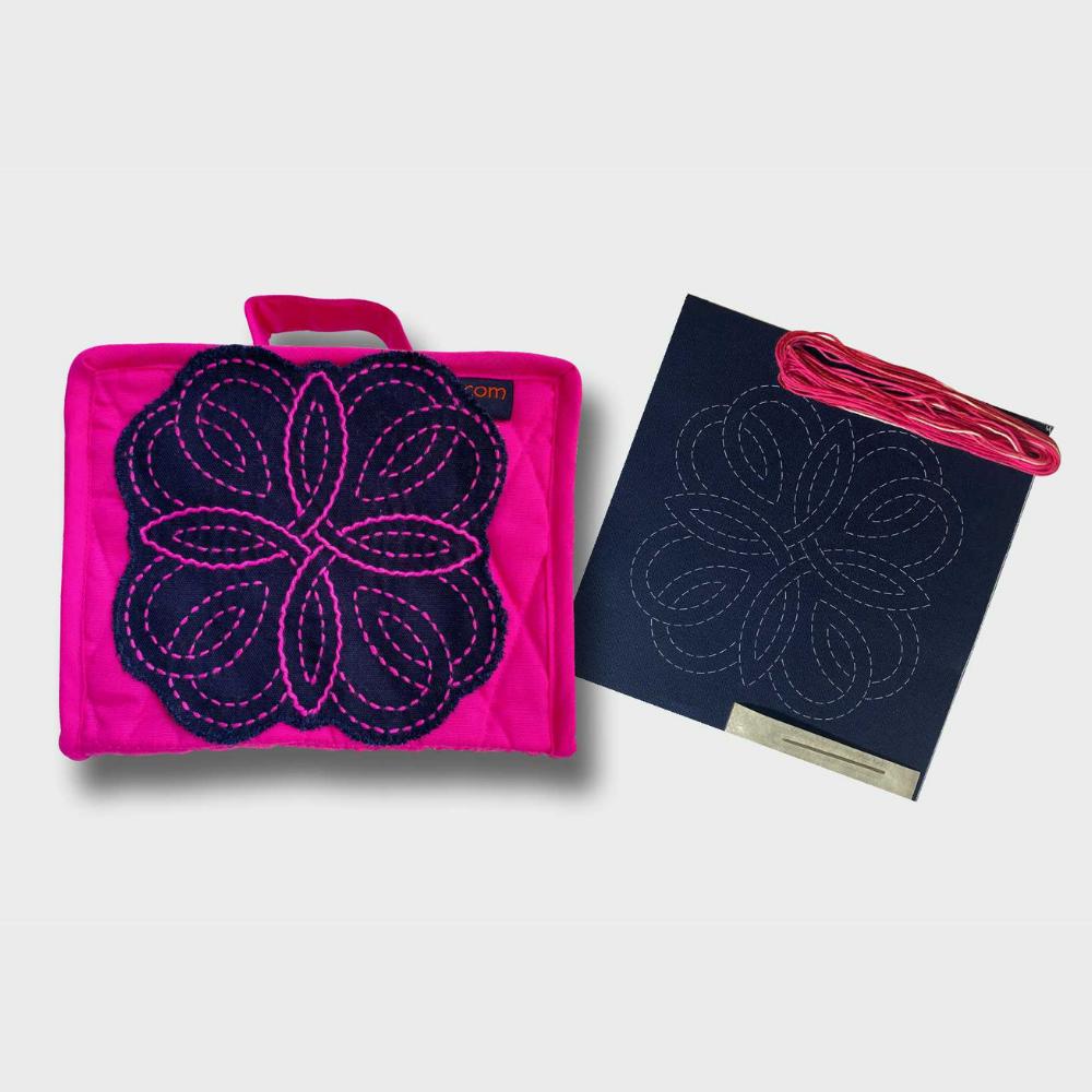 fuchsia petite craft organiser with sashiko kit