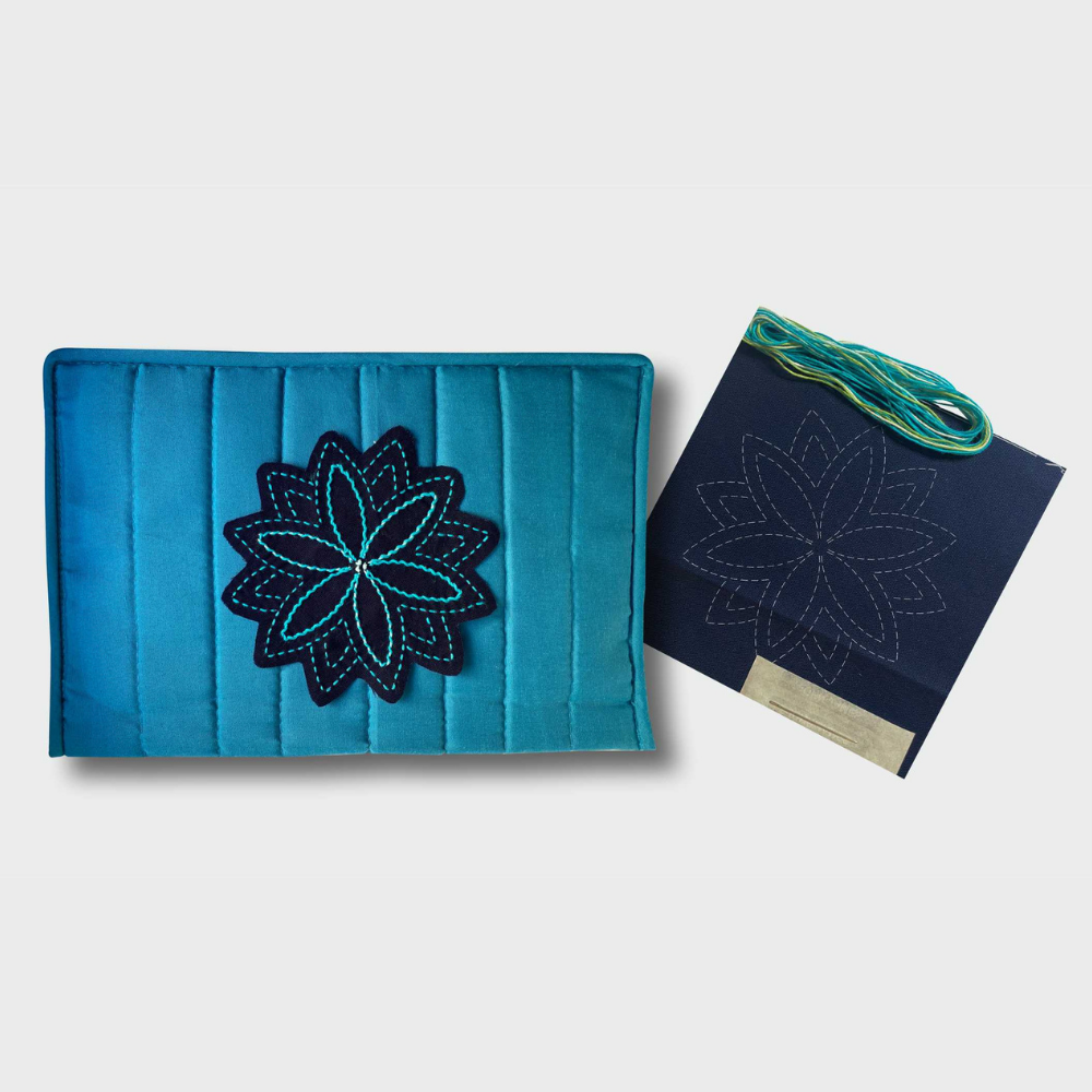 aqua craft notions pouch with sashiko kit