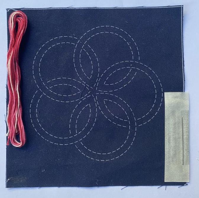 mini sashiko kit with fuchsia variegated thread