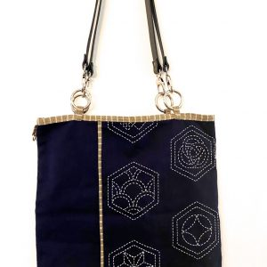 sashiko tote bag with leather handles