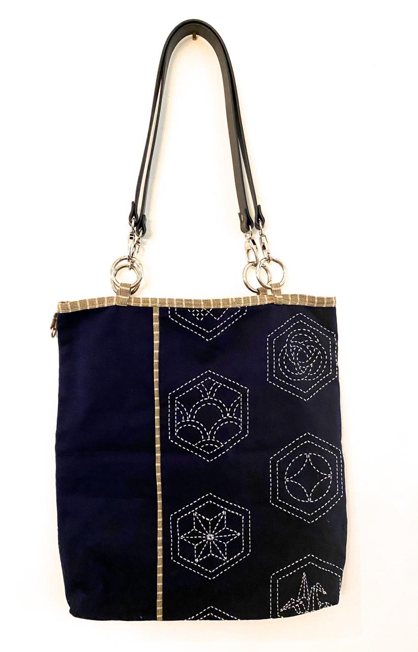 sashiko tote bag with leather handles