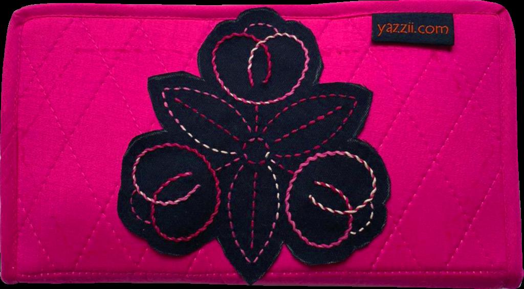 fuchsia compact craft organiser with sashiko stitching