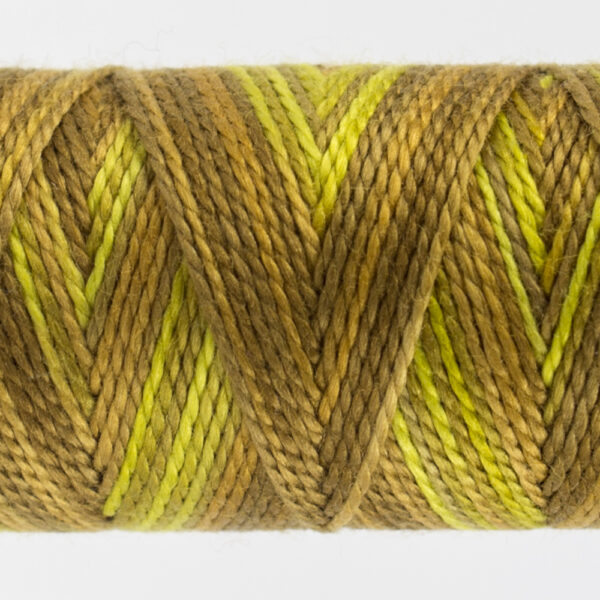closeup of variegated perle cotton thread gold colours
