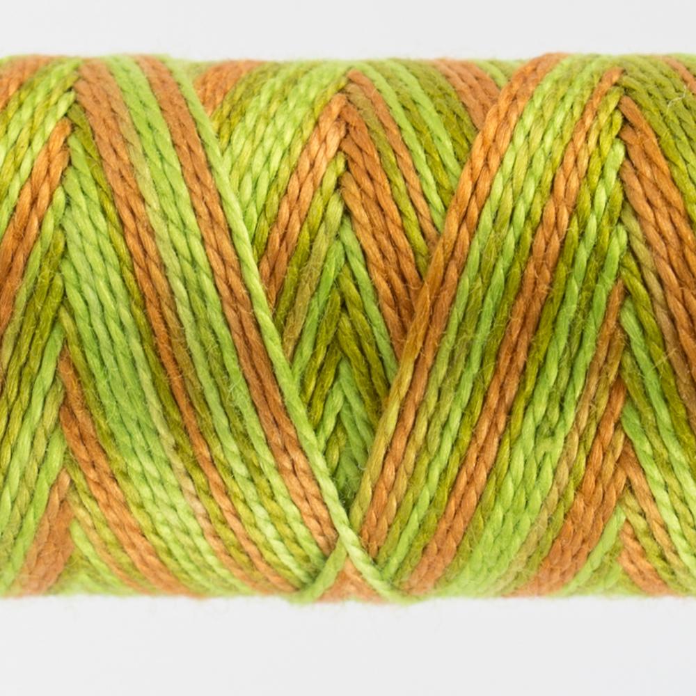 closeup of variegated perle cotton thread citrus colours