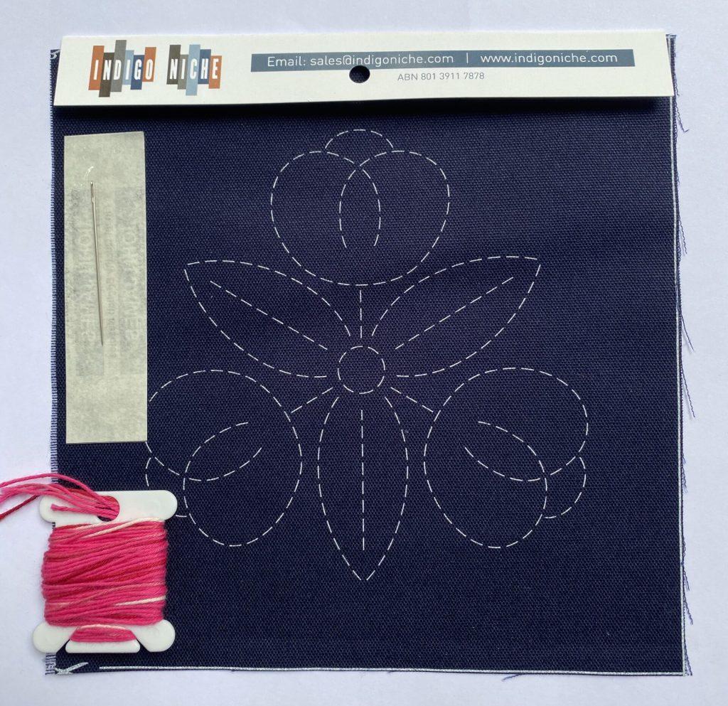 sashiko kit with fuchsia thread