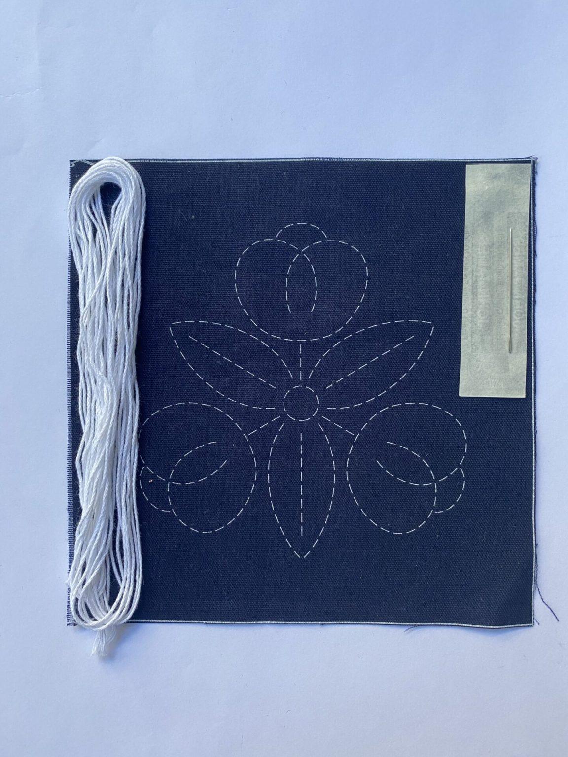sashiko kit with neutral thread
