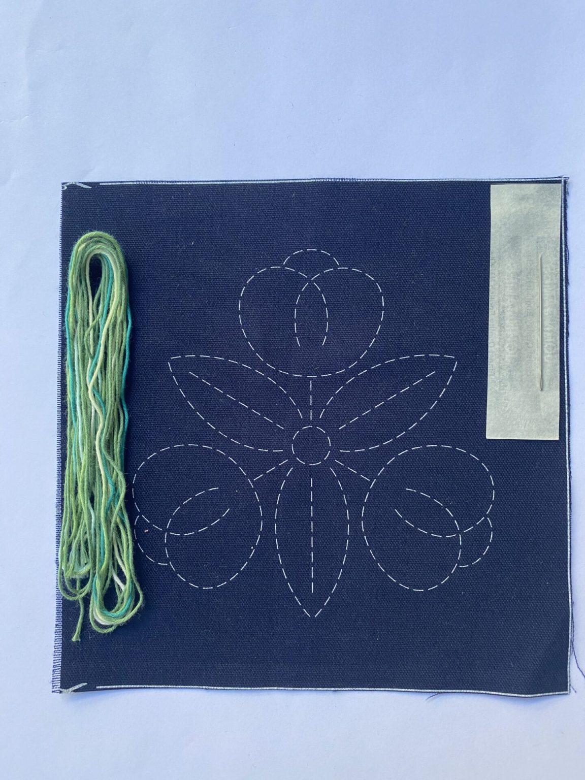 sashiko kit with apple green thread