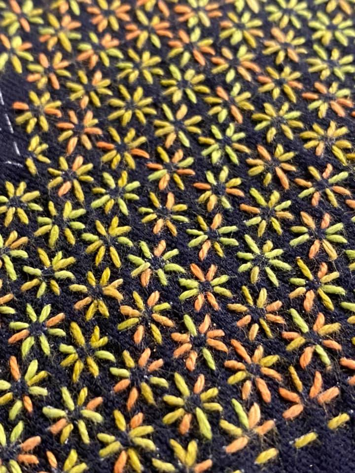 sashiko stitching with variegated perle thread