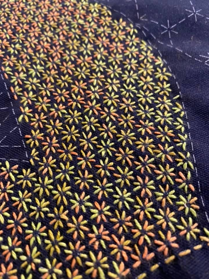 sashiko embroidery using perle 8 cotton thread