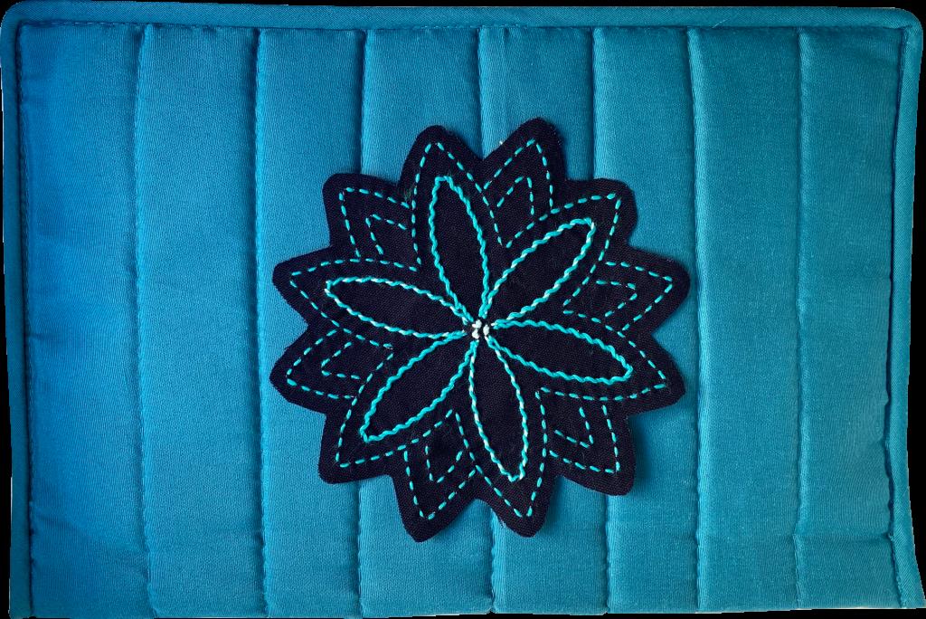 aqua craft notions pouch with sashiko stitching
